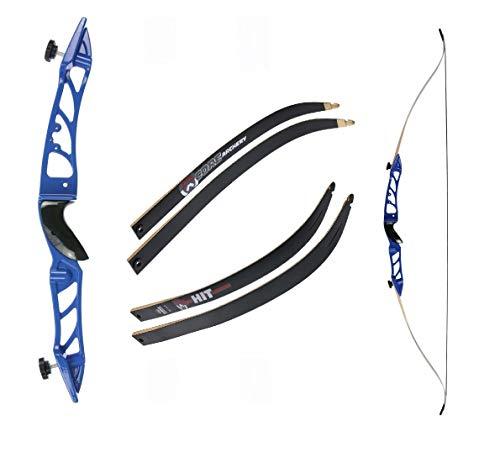 Recurvebogen Core Silhouette Blau mit schwarzen Wurfarmen 66 Zoll 30 lbs