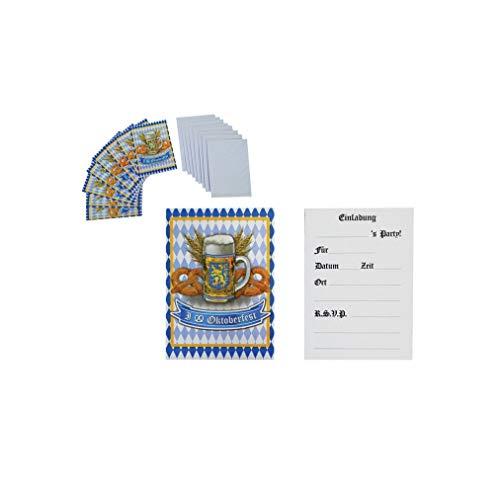 TrendClub100® Oktoberfest Bayern Bavaria Blau Weiß – 8 Einladungskarten