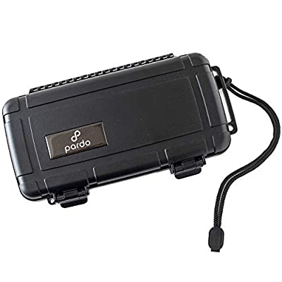Pardo Cigar Travel Humidor Case - Waterproof, Rugged, Crushproof - Black - Holds up to 5 Large Ring Gauge Cigars