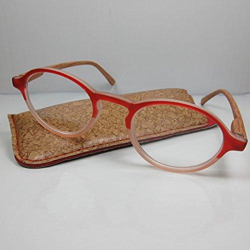 Designer Lesebrille +2,0 rot Flexbügel in Holzoptik SIE & IHN Lesehilfe Etui Fertigbrille
