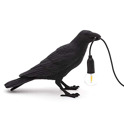 Creative Lamps Applique murale moderne à LED pour chambre à coucher, chevet, corbeau, oiseau, décoration d'intérieur - Noir