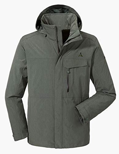 Schöffel Herren Jacket Denver2 atmungsaktive Regenjacke mit ZipIn Funktion, wind-und wasserdichte Outdoor Jacke für Männer, Grün (urban chic), 50