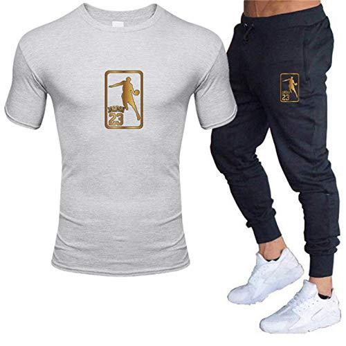 Camiseta para hombre de la marca de fútbol para hombre, traje deportivo 2021 al aire libre, ejercicio, deporte, gimnasio, algodón, camiseta xxxl para hombre (color: gris, tamaño: XL)
