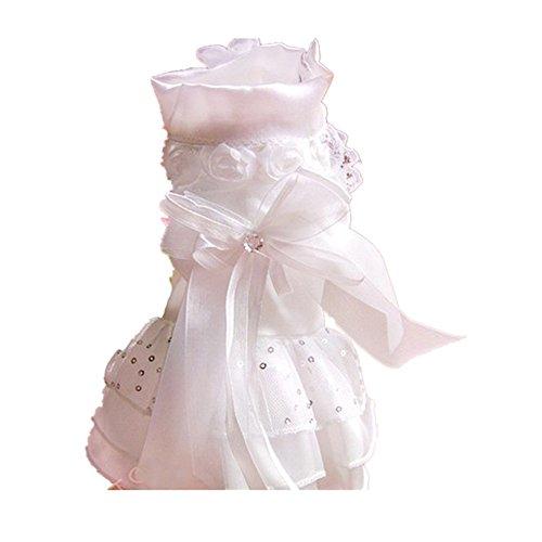 Wodery élégant mignon chien dentelle robe chiot bowknot jupe princesse tutu robe de mariage de caniche, XS / S / M / L / XL