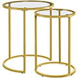 YAHEETECH Round Nesting End Table Set of 2,Stacking Side Tables,Coffee Tables Set w/Metal Frame & Glass Top & Protective Foot Pads for Small Space, Living Room, Office-Gold