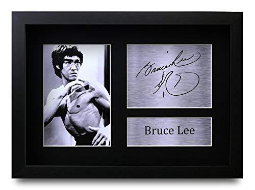 HWC Trading Bruce Lee A4 Gerahmte Signiert Gedruckt Autogramme Bild Druck-Fotoanzeige Geschenk Für Martial Arts Enter The Dragon Filmfans