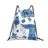 QUEMIN Bolsa clásica con cordón Cerámica Azul Tradicional China Antecedentes Gym Sack Bag Mochila con cordón Bolsa de Deporte de poliéster para Hombres y Mujeres