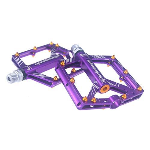 YZX 9/16' aleación Bicicleta Pedales, Aluminio rodamiento Sellado Antideslizante Ciclo Plataforma Plana del Pedal, para la Bici Plegable/Mountain Bike/Bicicleta de Carretera/MTB(Púrpura)