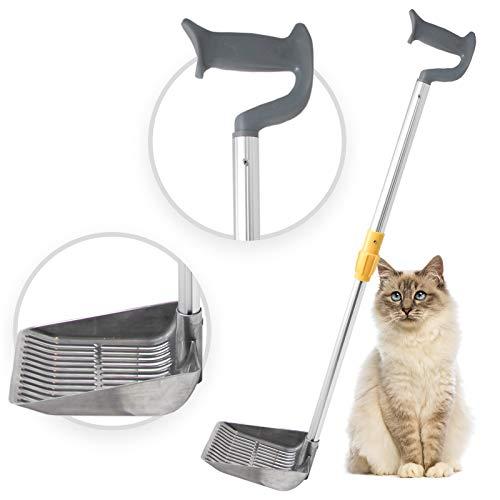 iPrimio Scoop Monster Cat Litter Stand Up Scooper – Adjustable Length Handle Upto 34 inch – Super Large Shovel – Makes Fast Sifting (Silver)