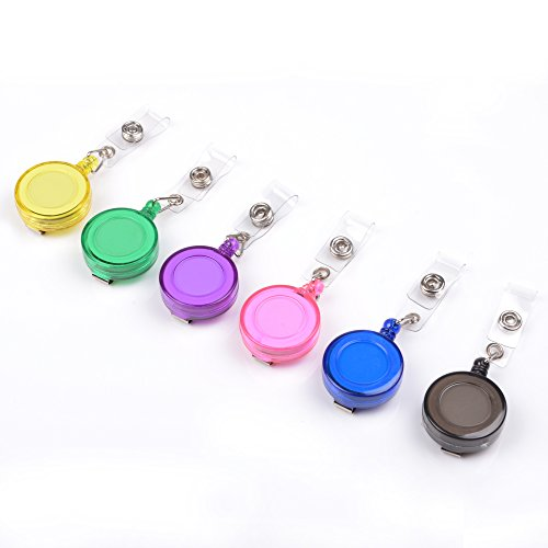 Cosmos 6 PCS Assorted Colors Translucent Plastic Retractable reel with Belt Clip for ID Badge