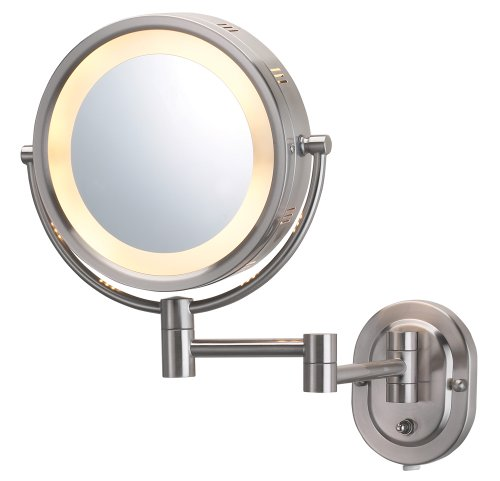 Jerdon HL65N 8-Inch Lighted Wall Mount Makeup Mirror with 5x Magnification, Nickel -