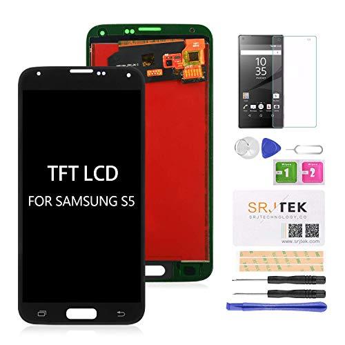 srjtek - Pantalla LCD de repuesto para Samsung Galaxy S5 G900 y G900 (compatible con Samsung Galaxy S5 2015 G900 G900MD G900A, digitalizador táctil, no amoldado)