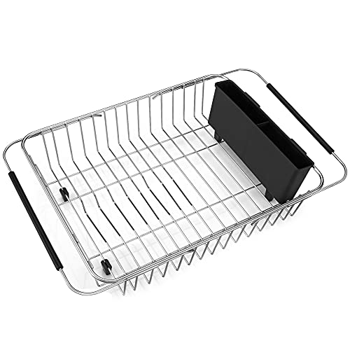 iPEGTOP Expandable Dish Drying Rack, Over The Sink Dish Rack, in Sink Or On...