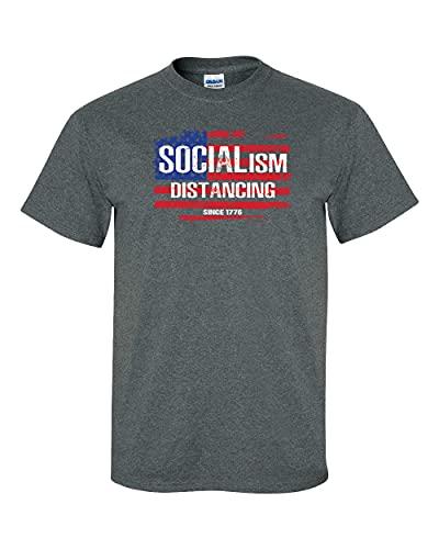 Socialism Distancing Since 1776 Camiseta de manga curta unissex patriótica Estados Unidos da América, Cinza mesclado, XXG
