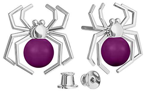 Crystals&Stones Ohrstecker *SPINNE* - Viele Farben mit Perlen von Swarovski Elements Schön Damen Ohrringe mit Perlen - Wunderbare Ohrringe mit Geschenkbox PIN/75 (Blackberry)