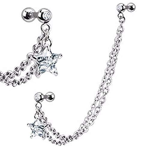 Covet Jewelry CZ Star with Gemmed Cartilage/Tragus Barbell Double Chain Linked Dangle 316L Surgical Steel