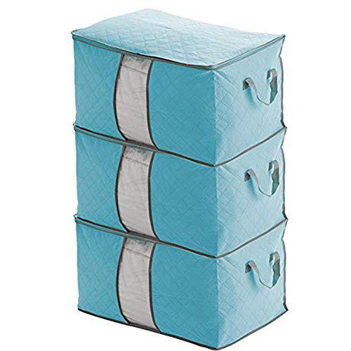 Ihomepark Almacenamiento de Edredones Bolsa - 3 Piezas Plegable Ropa Organizador, para la Organización Guardarropa, Manta, Almacenaje de la Ropa (Azul)