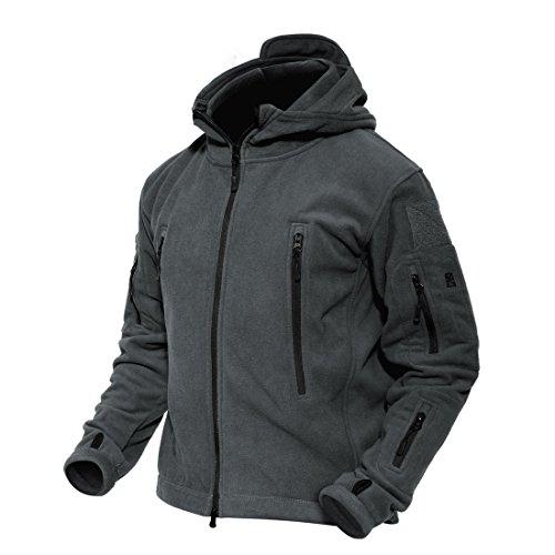 MAGCOMSEN Herren Übergangsjacke Warm Jagdjacke Taktische Fleecejacke Militär Outdoorjacke Herren Im Freien Jacke Winterjacke Multi Taschen Grau XL