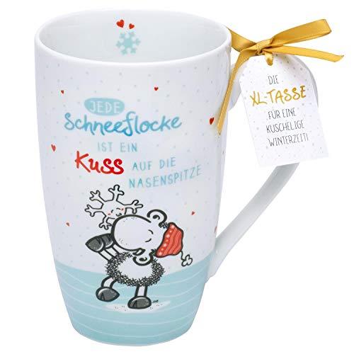 Sheepworld 49829 XL Tasse mit Kuss-Design, Porzellan, 50 cl, Geschenk Weihnachten