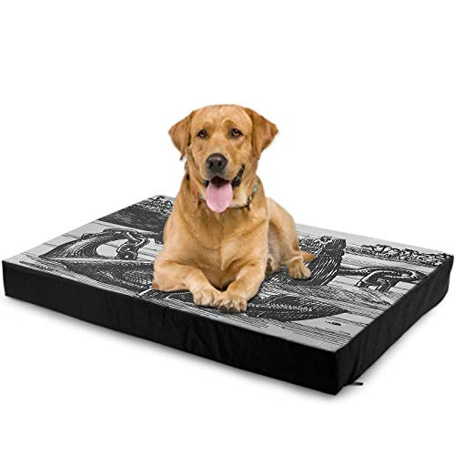 """Interestlee Dog Bed for Crate Small, Anchor Custom Dog Bed - Anchor with Skull by Exotic Island Shoreline Palm Trees Pirate Buccaneer Ship 15"""" x 20"""", Pale Grey Black"""