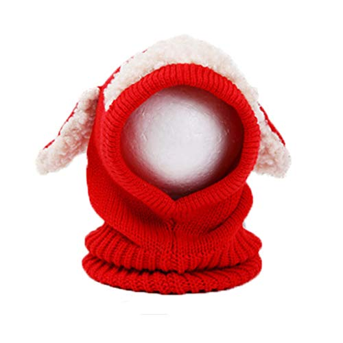 SJYDQ Otoño Invierno Cálido Lindo Bebé Tejido Beanie Oveja Sombrero Bufanda de Algodón Orejeras Capas Tejidas Gorras de Lana