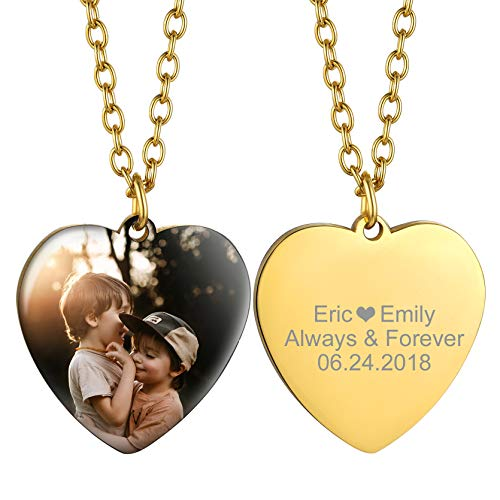 GOLDCHIC JEWELRY Heart Picture Necklace Personalised for Women, Custom Photo Engraved Necklace Gifts