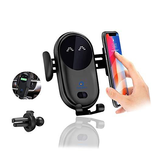 Soporte Movil Coche [2 en 1],Soporte Móvil Teléfono para Salida de Ventilación del Coche con Rotación de 360 Grados Compatible para iPhone 12 Pro XR XS 11 8 7 Plus(Negro)