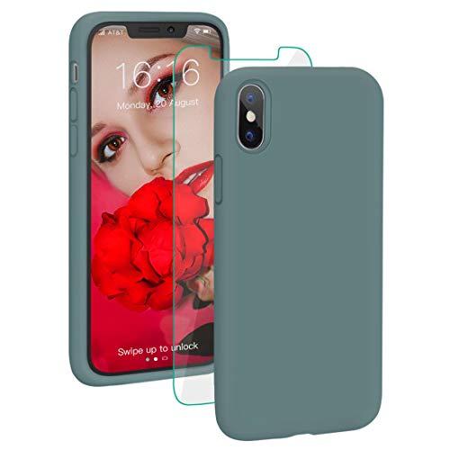 ProBien Coque pour iPhone X/XS, Silicone Liquide Coque avec Verre Trempé Gratuit Anti-Choc Housse de Couleur Protection Complète Cover Étui de iPhone X/XS 5.8 Pouces - Vert Sapin