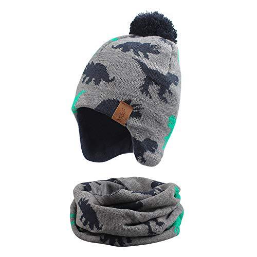 Pesaat Strickmütze Baby Jungen Schal und Mütze Set Winter BabyMütze Warme kindermütze Jungen [MEHRWEG] (grau/Hut + schal, 2-4Jahre)