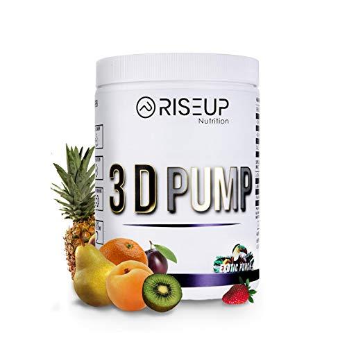 RiseUp 3D Pump - Veganer Pump Booster für mehr Blutvolumen - Pre Workout Booster ohne Koffein für 100% Pump 450g (EXOTIC PUNCH)