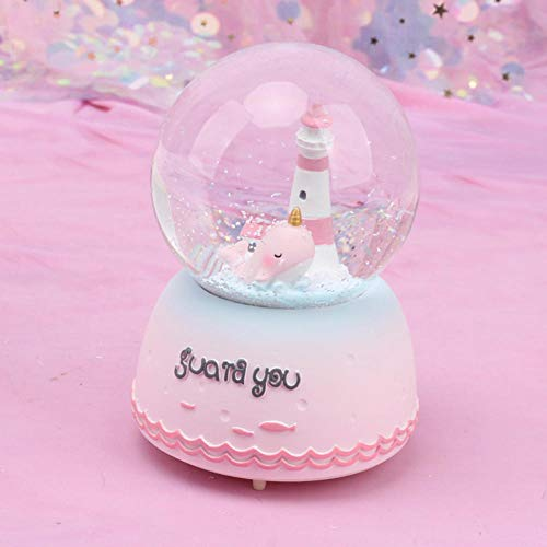 Gyjcd Paar Cadeau Kristallen Bol Glazen Bol Student Cadeau Woondecoratie Toren Met Walvis Sneeuwvlok Muziekdoos