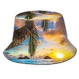 Mesllings Sombrero Sunrise Beach Sea Water Elíptico Árbol Sun Cap Sombrero al aire libre Protección UV Cubo Sombrero Plegable Ligero Transpirable Unisex Negro 2020 FW