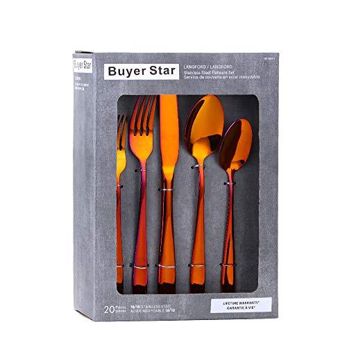 YDware - Juego de cubiertos de acero inoxidable (20 piezas, para 4 platos, con caja de regalo, apto para lavavajillas
