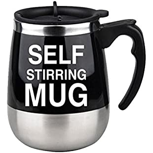 QLL 2018 Stirring Coffee Mug Magnetic Self Stirring Mug Cup Electric Stainless Steel Auto Self Mixing Cup and Mug for Coffee Traveling Morning Office 450ml, Black, 450ml:Hitspoker