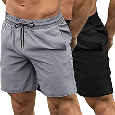 COOFANDY Men's 2 Pack Gym Workout Shorts Quick Dry Bodybuilding Weightlifting Pants Training Running Jogger with Pockets (Black/Grey, Small)