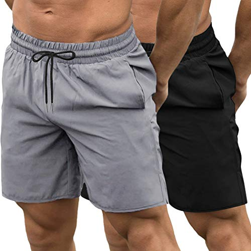 COOFANDY Men's 2 Pack Gym Workout Shorts Quick Dry Bodybuilding Weightlifting Pants Training Running Jogger with Pockets (Black/Grey, Medium)