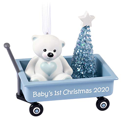 Hallmark Keepsake Ornament 2020 Year-Dated, Baby Boy's First Christmas Teddy Bear in Blue Wagon