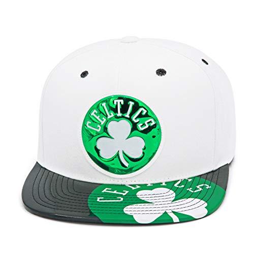 Mitchell & Ness Boston Celtics Snapback Hat - White/Black/Green/Patent Leather - Basketball Cap for Men