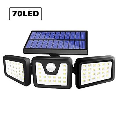 BEACON Solar Lights Outdoor, 800LM Wireless LED Solar Motion Sensor Lights Outdoor, 3 Adjustable Heads, 270° Wide Angle Illumination, IP65 Waterproof, Security LED Flood Light (1Pack)