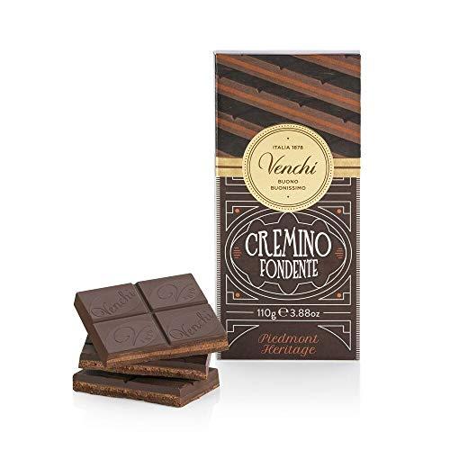 Venchi Tavoletta Cremino Fondente, 110g - Cioccolato alle Nocciole Gianduia e Cioccolato Fondente con Pasta di Mandorla - Senza Glutine