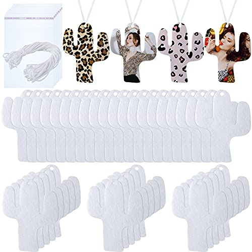 50 Pieces Cactus Sublimation Air Freshener Blank Felt Air Freshener White Fragrant Sheets Air Freshener Sheets Car Scented Hanging Sheets with Elastic Rope for Car Interior Decoration
