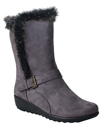 Cushion Walk Womens Ladies Lightweight Mid Calf Fur Lined Zip Up Buckle Casual Warm Winter Boots UK 4-8 (4 UK, Grey)