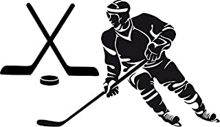 Large Silhouette Vinyl Hockey Wall Decal (Player and Sticks) (Black)