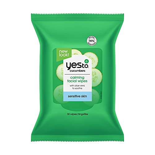 Yes To, Cucumbers Hypoallergenic Facial Wipes Remove Dirt and Makeup, Vegan Friendly, 30 Wipe Duo Pack