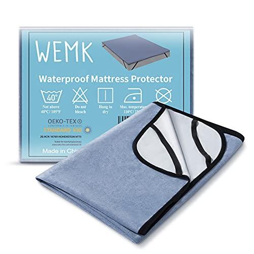 Wemk Coprimaterasso Impermeabile, Proteggi Materasso con 4 Elastici, Antiallergico, Antiacaro, Certificato ISPA, CertiPUR-EU, Oeko-Tex (1 Pezzo, 160x200cm)