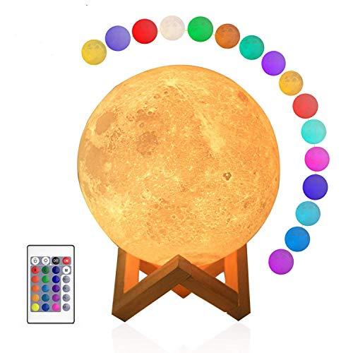 Hellum Mond-Lampe, 15cm LED Mond Nachtlicht mit Fernbedienung, 3D-gedruckter Mond mit 16 Farben, Dimmbare Tischlampe mit Holz Sockel 523164