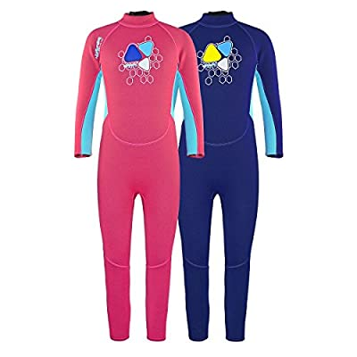 Layatone Wetsuit Kids 2mm Neoprene Suit Diving Suit Children Full Suits Girl Boy Thermal One Piece Swimsuit Kids Scuba Wet Suit Toddlers Water Suits Kids (Pink,7-8years olds)