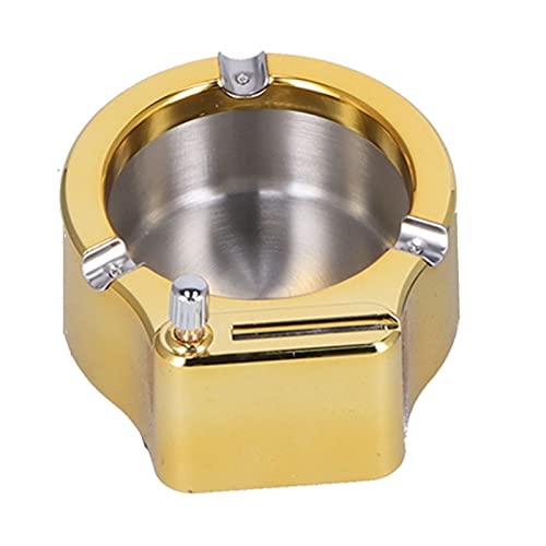 KASD Cenicero, Cenicero De Oficina Match Lighter Cenicero para Un Gran Regalo para El Esposo(Oro)