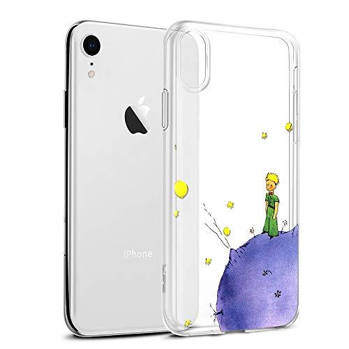 Yoedge Funda iPhone XR Ultra Slim Cárcasa Silicona Transparente con Dibujos Animados Diseño Patrón [El Principito] Resistente Bumper Case Cover para iPhone XR Smartphone (Púrpura)