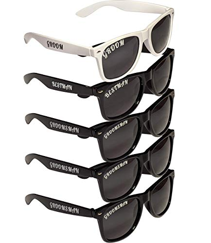 5-pack Polarized Bachelor Party/Wedding Sunglasses Gifts Props Supplies Groom Groomsman Best Man
